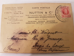 CPA 59 CARTE POSTALE NUTTIN TOURCOING MOUSCRON AVIS EXPEDITION + TIMBRE FISCAL - Transport