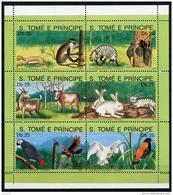 Sao Tome E Principe, 1991, Animals, Fauna, MNH Sheet, Michel 1283-1288 - Sao Tome Et Principe