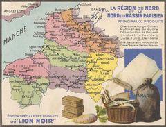 Publicite Produits Du Lion Noir Carte Region Nord Et Nord Du Bassin Parisien - Other
