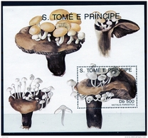 Sao Tome E Principe, 1991, Mushrooms, Flora, MNH, Michel Block 259 - Sao Tomé E Principe