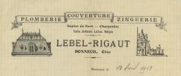Devis à En-tête Illustré De Lebel-Rigaut Couvreur à Bonneuil (Oise). Plomberie Couverture Zinguerie . 1913 . - Francia
