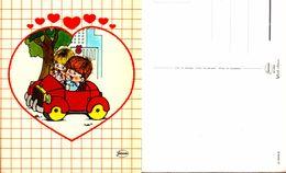 Garçon Et Fille Dans Voiture Avec Coeur -Garami 2/1643/A - Dessins D'enfants