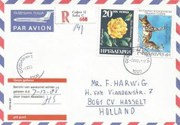 Bulgaria 1988 Sofia Wild Dog Lycaon Pictus Rose Registered Cover - Bulgarije