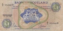 BILLETE DE ESCOCIA DE 1 POUND DEL AÑO 1968  (BANKNOTE) - [ 3] Escocia