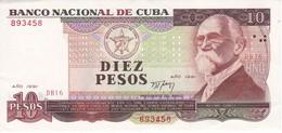 BILLETE DE CUBA DE 10 PESOS DEL AÑO 1991 DE MAXIMO GOMEZ CALIDAD EBC (XF)  (BANKNOTE) - Cuba