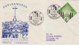 FDC N° 937 (vallée De Los Caidos, Temple, Croix) Obl. 1° Apr 59 Madrid (ours Et Arbre) - FDC