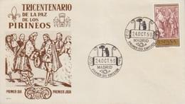 FDC N° 938 (tricentenaire Du Traité Des Pyrénées, Louis 14) Obl. 24 Oct 59 Madrid (ours Et Arbre) - FDC