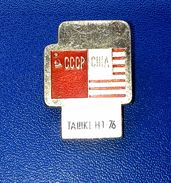 Pins/badges-vintage,rare,quality - BOXING MATCH - USSR V. USA , TASHKENT 1976. - Boxing