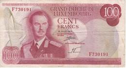BILLETE DE LUXEMBURGO DE 100 FRANCS DEL  AÑO 1970 SERIE F (BANKNOTE) - Luxemburgo