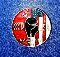 Pins/badges-vintage,rare,quality - BOXING MATCH - USSR V. USA , ALMA-ATA 1974. - Boxing