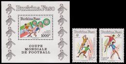 Soccer Football Burkina Faso #1226/7 + Bl 133 1990 World Cup Italy MNH ** - World Cup