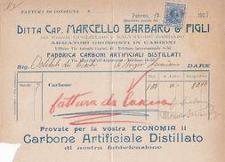 PALERMO  _ 1925  /  Ditta Cap. MARCELLO Barbaro & Figli - Documento Commerciale _ Marche Da Bollo - Italia
