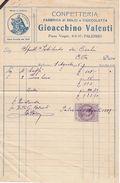 PALERMO  _ 1925  /  Fabbrica Di Dolci E Cioccolata GIOACCHINO VALENTI - Documento Commerciale _ Marche Da Bollo - Italia