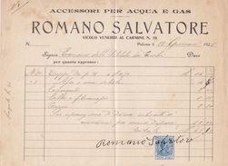 PALERMO  _ 1925  /  Accessori Per Acqua E Gas  ROMANO SALVATORE - Documento Commerciale _ Marche Da Bollo - Italia