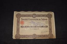 Société Cotonnière De Saïgon 250 Frs / Capital 20 Millions Rembourser En 3X 1931 -> 1956 - Asie