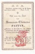 DP Joannes Clemens Pattyn ° Bavikhove Harelbeke 1786 † 1839 - Devotion Images