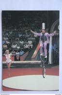 Soviet Circus. Equilibrist Yan Poldi Riding Bicycle . USSR PC. 1986 - Cirque