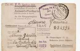9550 KRIEGSGEFANGENENPOST UDINE TO ITALIAN PRISONER STALAG WITH TEXT - RSI REPUBBLICA SOCIALE - 1944-45 République Sociale