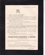 14-18 ESNEUX Georges De GERADON Engagé Volontaire Tombé Pour La Patrie 17 Ou 18 Mars 1918 Faire-part Décès - Todesanzeige