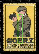 German Poster Stamp, Reklamemarke, Vignette, Goerz  Lenses, Trieder-Binocle, Hunting, Linsen, Jagd, Deer - Erinnofilia