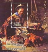 2004 Ghana Rockwell Scouts Paintings Complete Set Of 2 Sheets MNH - Ghana (1957-...)