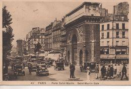 CPA - PARIS - PORTE SAINT MARTIN - 43 - ANIMÉE - VOITURES - Francia