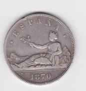 Belle 5 Pesetas 1870 SN M   TB/TTB Petit Coup Sur Tranche - Colecciones