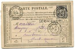 VOSGES De SEROCOURT CP Du 13/12/1877 Boîte Rurale M + Dateur T 17 De LAMARCHE - Storia Postale