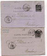 COTES D ARMOR De LANNION Dateur T 18 Sur 2 Entiers Sage De 1882 Et 1883 - 1877-1920: Période Semi Moderne