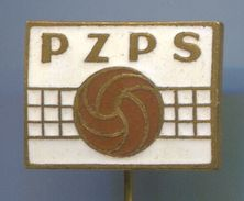 Volleyball, Pallavolo - PZPS / Poland Federation, Vintage Pin Badge, Abzeichen, Enamel - Volleyball