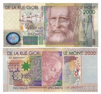 De La Rue Giori Le Mont 2000 Leonardo Da Vinci - Specimen / Trial / Essai - UNC/AUNC From Bundle - Italie