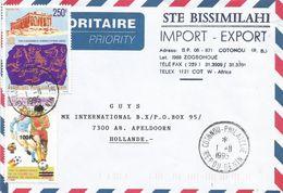 Benin 1995 Cotonou Philatelie World Cup Football Spain Overprint 100f On 500f Michel 894 Acropolis Cover - Benin – Dahomey (1960-...)