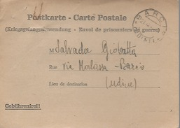 Ww2 Prigionieri Di Guerra - Corrispondenza Da Germania Per Barcis (ora Pordenone) Udine - Cartolina Prestampata - Prigione E Prigionieri