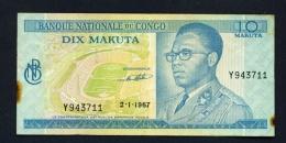 CONGO DR (KINSHASA)  -  02/01/1967  10 Makuta  Circulated  (Condition And Serial Number As Scans) - Congo