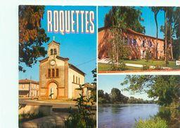 CPSM      -  Roquettes - L 'église ,le Centre Culturel ,les Berges De La Garonne      V582 - France
