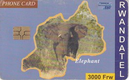 TARJETA DE RUANDA  DE UN  ELEFANTE (ELEPHANT) - Schede Telefoniche