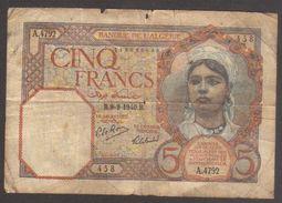 Banconota 5 Franchi - Numero Alfabetico/numerico A.4792 - Circolata Con Molta Usura_W - Algeria
