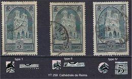 """FR YT 259 Type I II IV """" Cathédrale De Reims """" 1930 Oblitéré - France"""