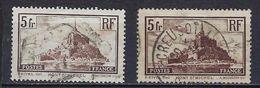 """FR YT 260 & 260a """" Le Mont Saint-Michel, Type I & II """" 1930 Oblitéré - Frankreich"""