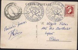 CPA Comité Velmanya Port Vendres Destruction Port Guerre 39 45 YT 638 Marianne Alger Seul S Lettre CAD Journée Du Timbre - Storia Postale
