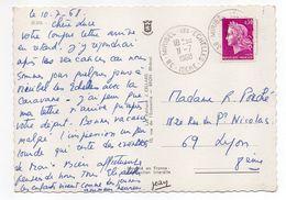 1968--Beau Cachet  38-MIRIBEL LES ECHELLES--Marianne De Scheffer--sur Carte Postale - Marcophilie (Lettres)
