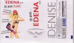 EAU De Source  EDENA - Étiquette DENISE EN MODE PLAGE - BTLE ILE DE LA REUNION -  50 CL - Etiketten
