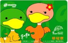 Taiwan Taipei Rapid Transit Train Ticket Duck Cartoon Logo Of 2003 National Sports Game - Subway
