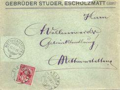 "Motiv Brief  ""Gebrüder Studer, Escholzmatt"" - Mettmenstetten                1901 - 1882-1906 Wappen, Stehende Helvetia & UPU"