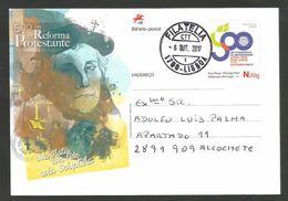 Portugal 2017 Carte Entier Postal Voyagé 500 Ans Réforme Protestante Lutero Luther Protestant Reformation Stationery - Christianity