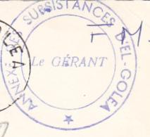 """Cachet Double Couronne """"Annexe Des Subsistances D'El - Goléa - Le Gérant"""" Circ En FM, Date Illisibe - Marcophilie (Lettres)"""