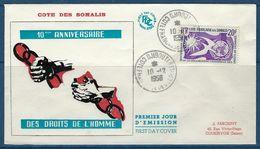 Côte Des Somalis, FDC, 1958,10 ème Anniversaire Des Droits De L'Homme - Somalia (1960-...)