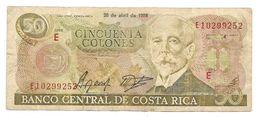 Costa Rica Cincuenta Colones $50 Bill Note Money 1988 Very Hard Country - Costa Rica