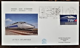 FRANCE TGV, TRAIN, TRAINS, Yvert N° 2607  FDC, Enveloppe 1 Er Jour Cachet VOVES - 1980-1989