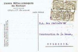 "4 X N°420 Op Postkaart Met Firmaperforatie (perfin) ""U.M.H."" Van USINES METALLURGIQUES DU HAINAUT Met Stempel COUILLET - 1934-51"